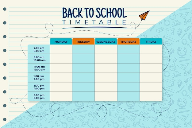 Флэт обратно в школьное расписание Бесплатные векторы