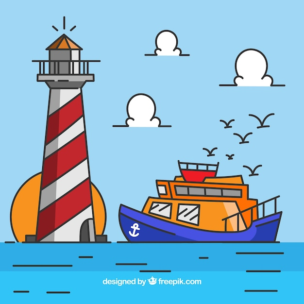 Flat background of boat and lighthouse Free Vector