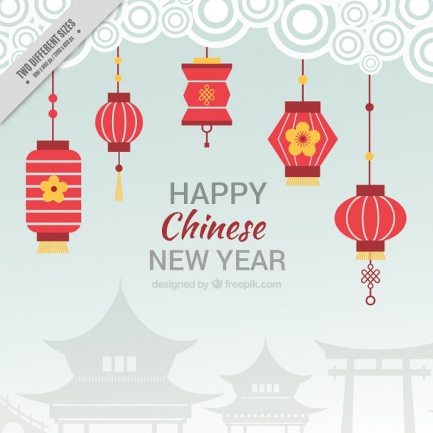 Flat background for chinese new year with red lanterns ...