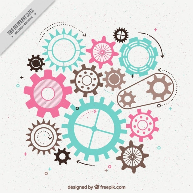Flat background of gears with different colors Free Vector