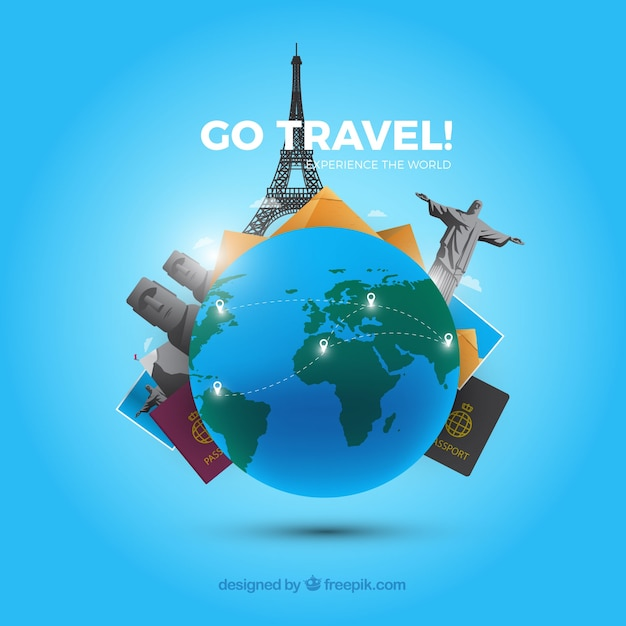 Flat background go travel Free Vector