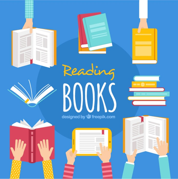 Flat background of hands holding books Free Vector
