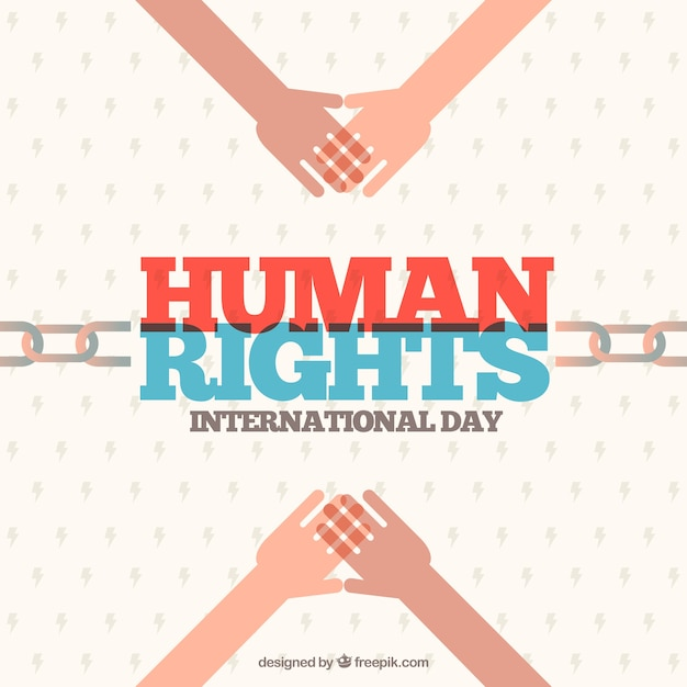 Flat background for human rights day with chain and hands Free Vector