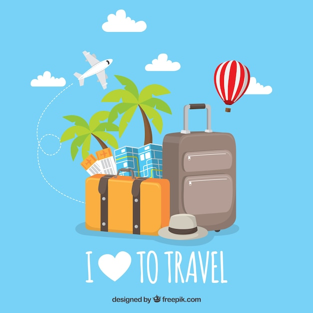 Flat background i love to travel Free Vector