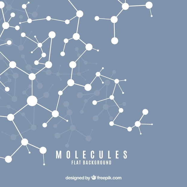 Flat background of molecules Free Vector