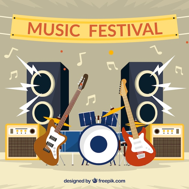 Flat background for a music festival Free Vector