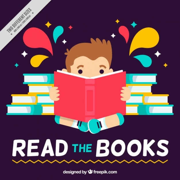 flat background of kid reading a book - Kid Free Books