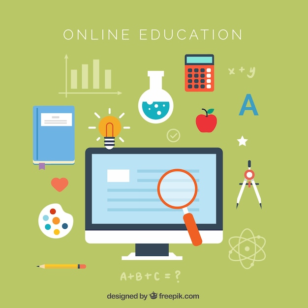 Flat background of online education Vector | Free Download