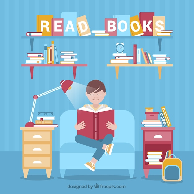 Flat background of relaxed guy enjoying a\ book