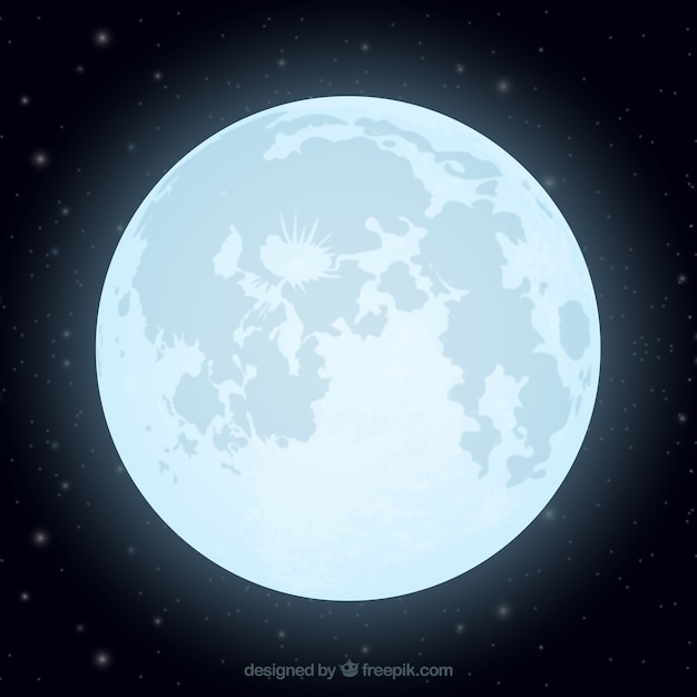 Flat background of shiny moon Free Vector