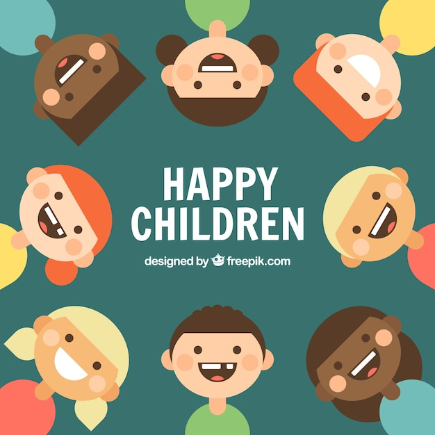 flat background of smiling kids - Kids Cartoon Picture