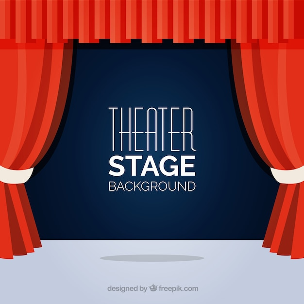 Flat Background Of Theater Stage With Red Curtains Vector