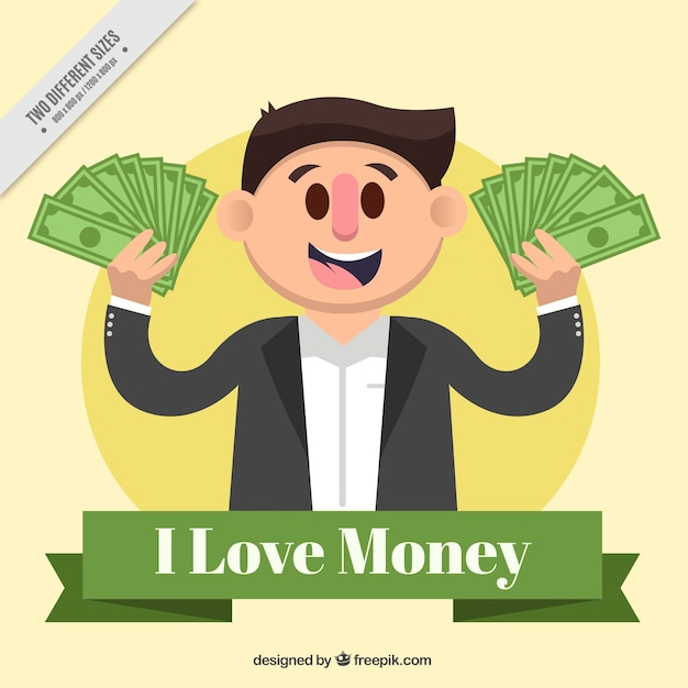 Flat background of smiling man with money Free Vector