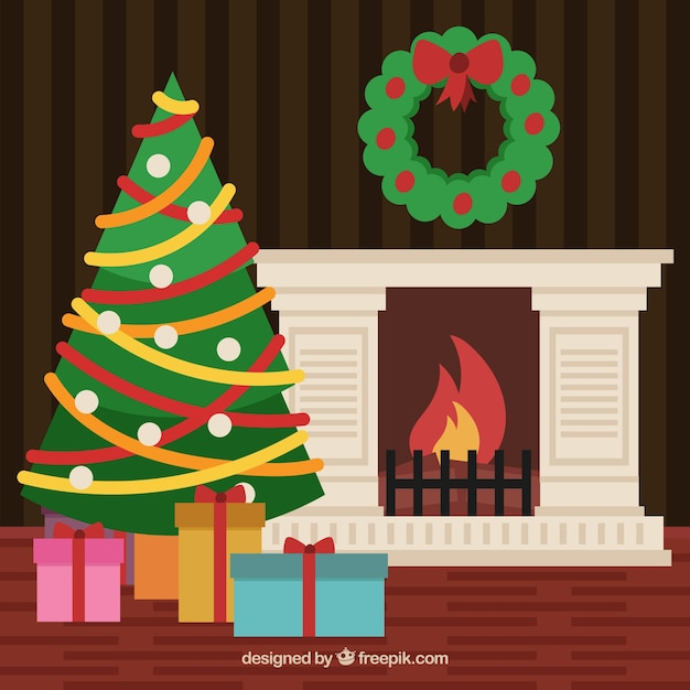 Flat background with a christmas fireplace scene