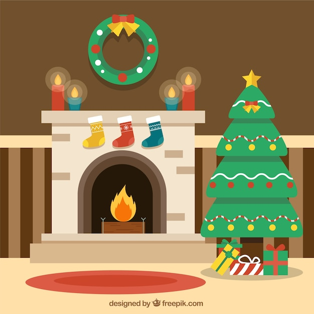 Flat background with a fireplace scene