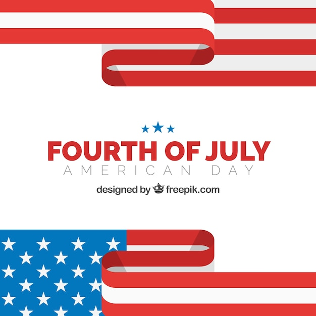 Flat background with abstract flag for fourth of july