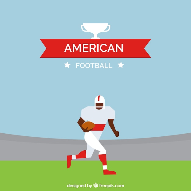 Flat background with american football player\ in geometric style