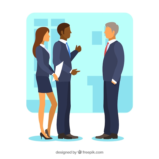 Flat background with business meeting