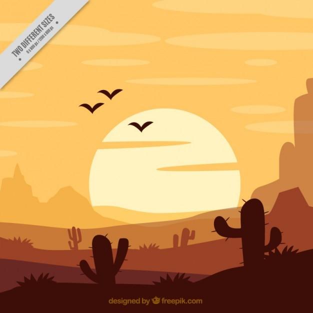 Flat background with cactus in orange tones Free Vector
