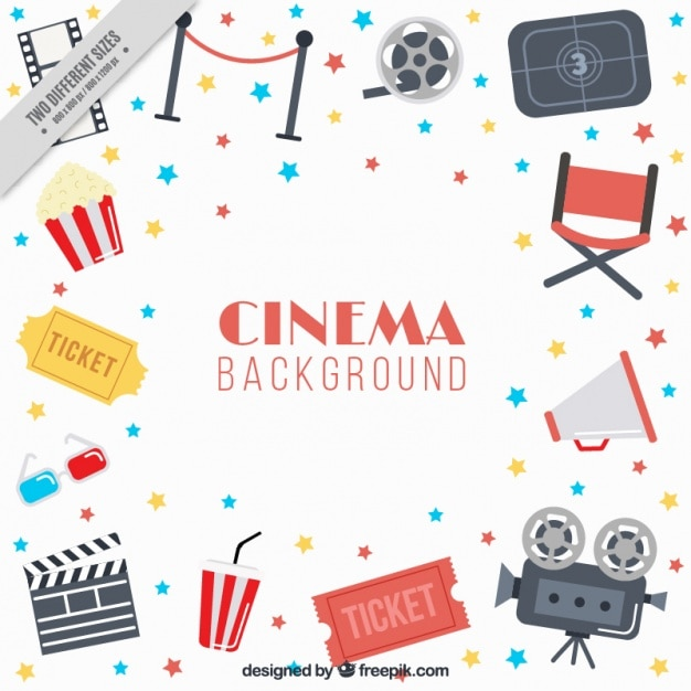 Flat background with cinema items and colorful stars Premium Vector