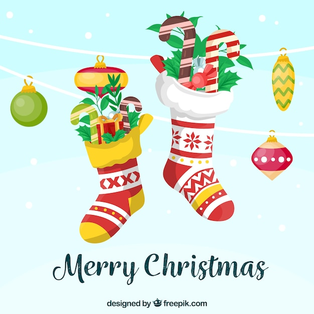 Flat background with colourful christmas socks