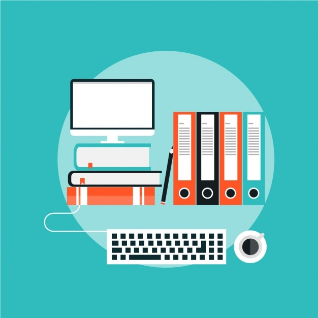 Flat background with a computer and folders Free Vector