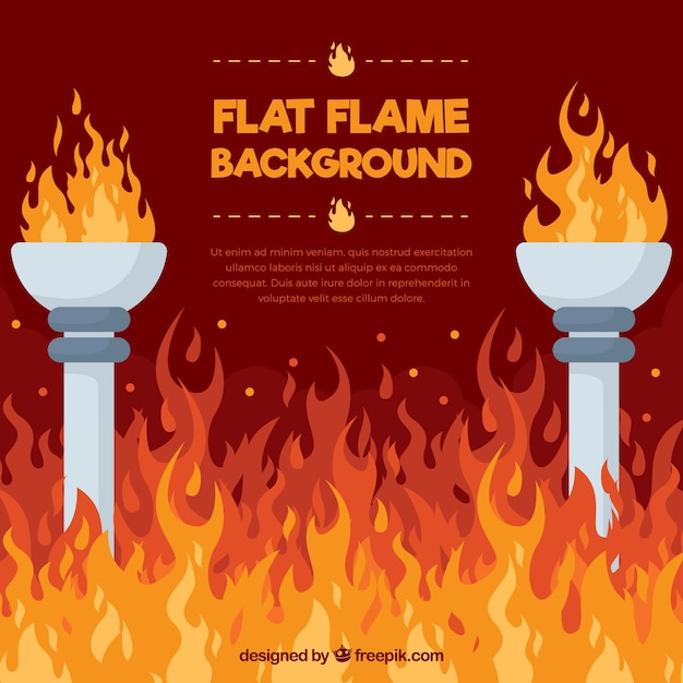 Flat background with flames and torches Premium Vector