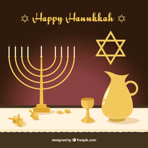 Flat background with golden hanukkah\ objects