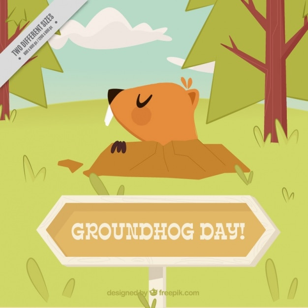 Flat background with groundhog and trees
