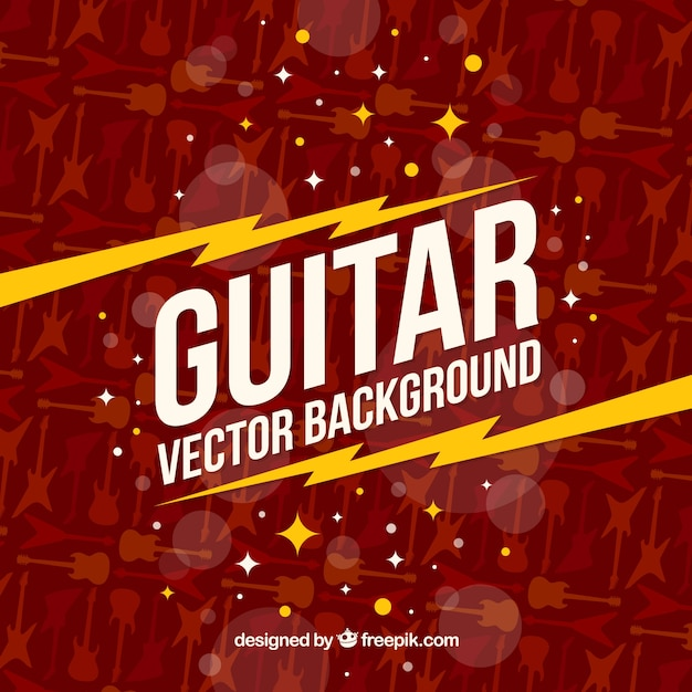 Flat background with guitar silhouettes Free Vector