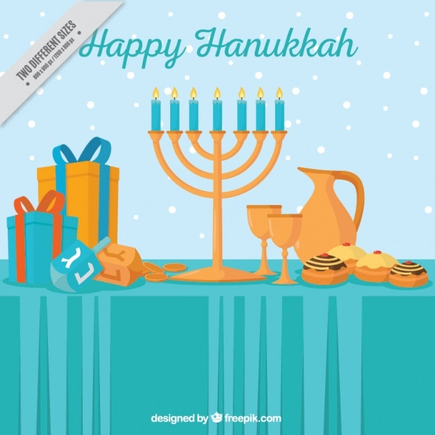 Flat background with hanukkah objects and\ snow