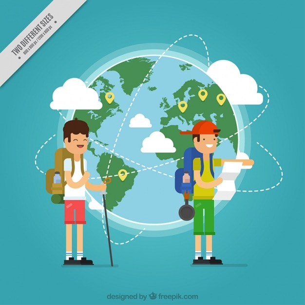 Flat background with happy tourists and world map vector free flat background with happy tourists and world map free vector gumiabroncs Choice Image