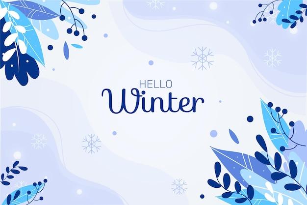 안녕하세요 겨울 메시지와 함께 평면 배경 무료 벡터