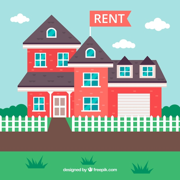 Free Houses For Rent: Flat Background With A House For Rent Vector