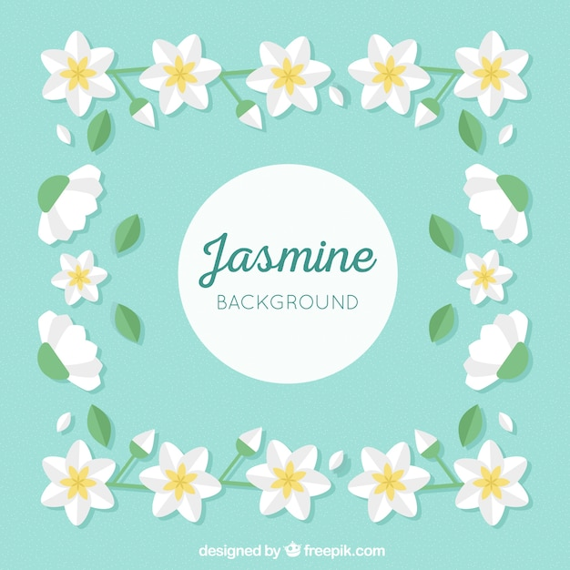 Flat Background With Lovely Jasmine Flowers Vector Free Download
