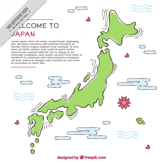 Flat background with map of japan Free Vector