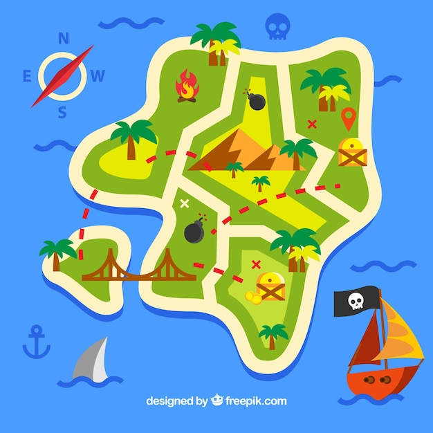 Flat background with ocean and pirate treasure map Free Vector