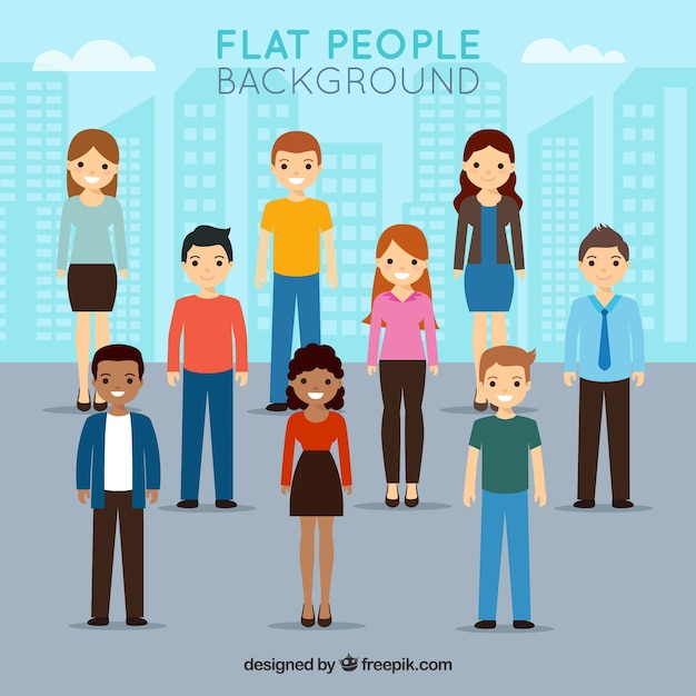 Flat background with people and the city Free Vector