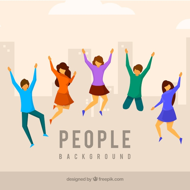 Flat background with people jumping Free Vector