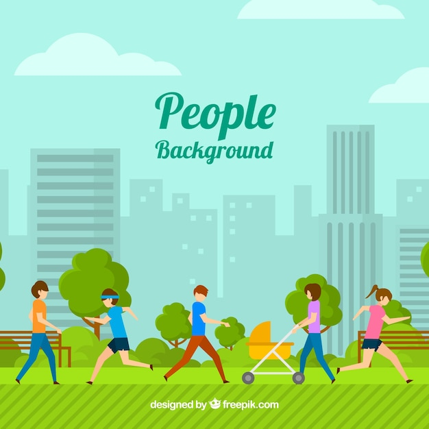 Flat background with people training in the park Free Vector