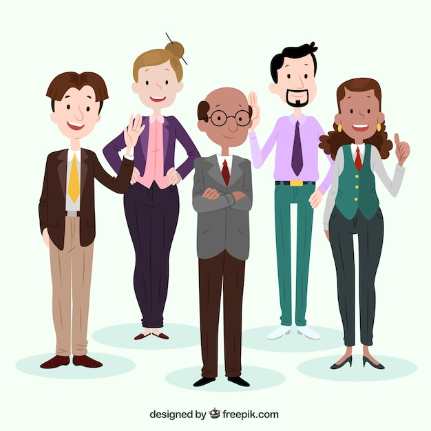 Flat background with smiley professionals Free Vector