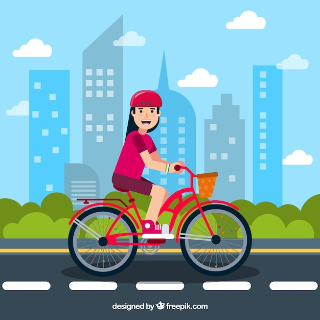 Flat background with smiley woman and bike Free Vector