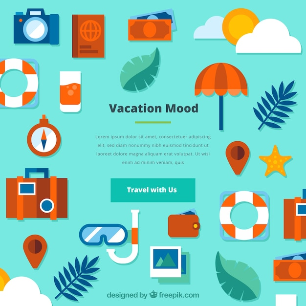 Flat background with vacation elements