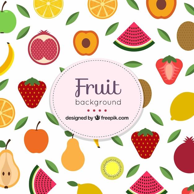 Sfondo piatto con varietà di frutta Vettore gratuito