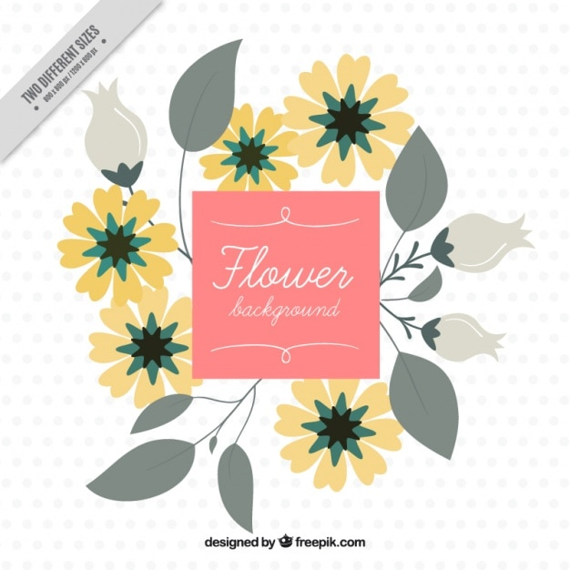 Flat background with yellow flowers
