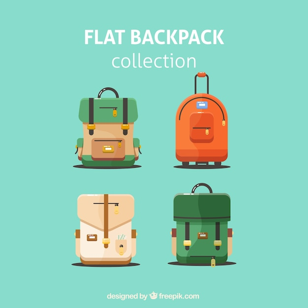 Flat backpack collection Free Vector