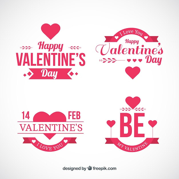 flat badges for valentine day vector free download
