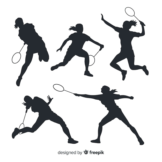Flat badminton player silhouette collection Free Vector