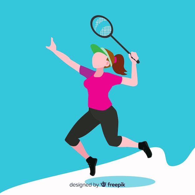 Flat badminton player with racket Free Vector