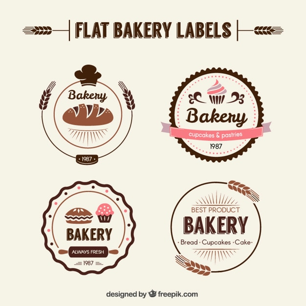 Flat bakery labels in retro style Free Vector